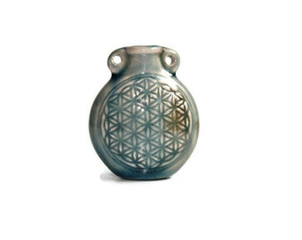 Ceramic Raku Bottle - Sacred Geometry, Flower of life- Available with Necklace Options or Bottle Only - Essential oil vial Necklace