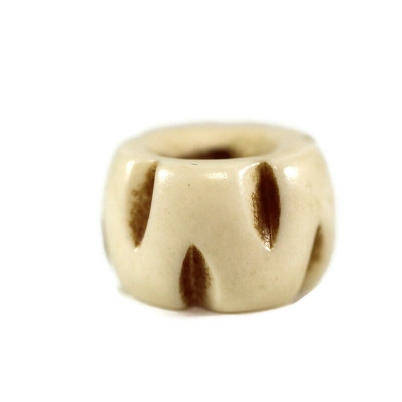 Leaf Bone Dread Bead // 10mm Bead Holes // Dreadlock Beads, Dread Jewelry, Dread Accessories, Large Hole Beads, Hair Beads, 4D010