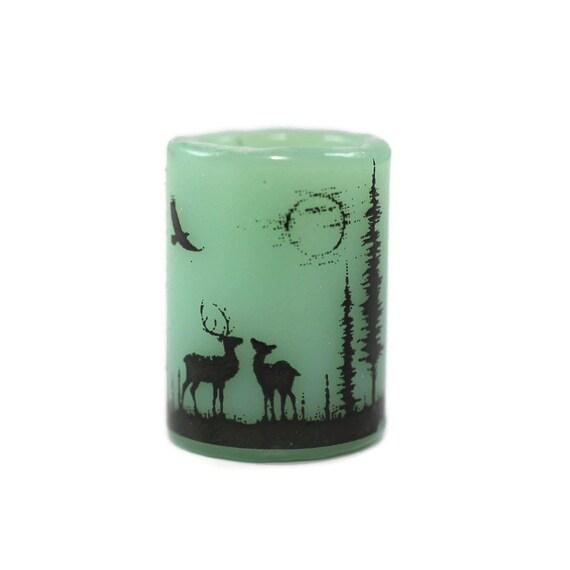 Elk in Forest Dread Bead - Green - 10 mm bead hole - Glass Dreadlock Bead, Lampworked Bead, Loc bead, Loc Accessories, Dread Jewelry
