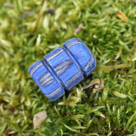 Blue Wood Dread Beads // 7mm Bead Hole // wooden Dreadlock Bead, Loc Jewelry, Dreadlock Accessories, Wood Dread Bead, Dread Jewelry