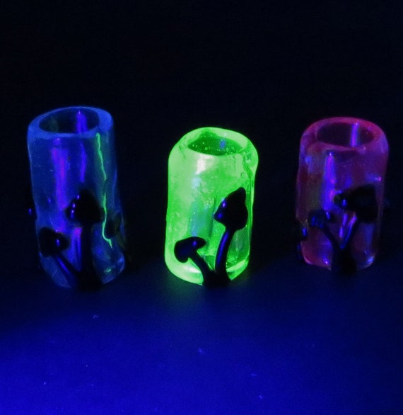 Mushroom Silhouette Blacklight UV reflective  - CUSTOM 3 UV colored back grounds to choose from - Glass dread lock bead, Dreadlock Bead