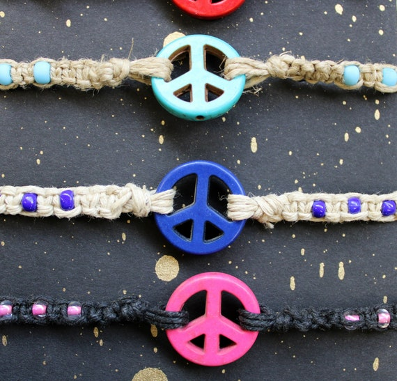 Hemp Bracelet - Peace Sign Beads with Glass Accent Beads - Hand tied in Bremerton, WA