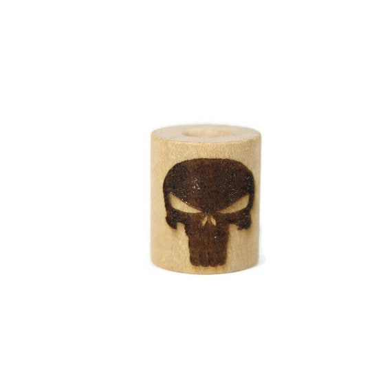 Punisher Skull Wood Dread Bead // 6 - 8 mm Bead Hole // Dreadlock Bead, Loc Jewelry, Dreadlock Accessories, Dread Jewelry, Scarab Bead
