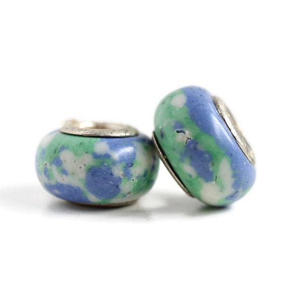 2 Ceramic & Sterling Silver Dread Beads - 5mm bead hole - Dreadlock Bead, Dread Accessories, Large Hole Bead, 4D034
