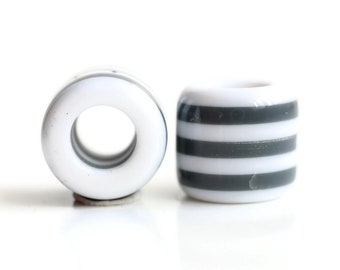 2 Gray & White Acrylic Dread Beads - 6mm Bead Hole - Rainbow Dread Bead, Rainbow Dreadlock Bead, Dread Jewelry, Dread Accessories, 4E003