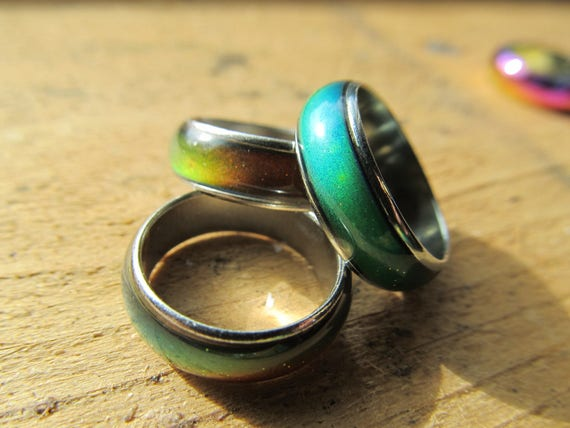 Metal Mood ring, color changing dread beads, Heat sensitive,   Color change jewelry, size 5-10,  15mm-20mm,