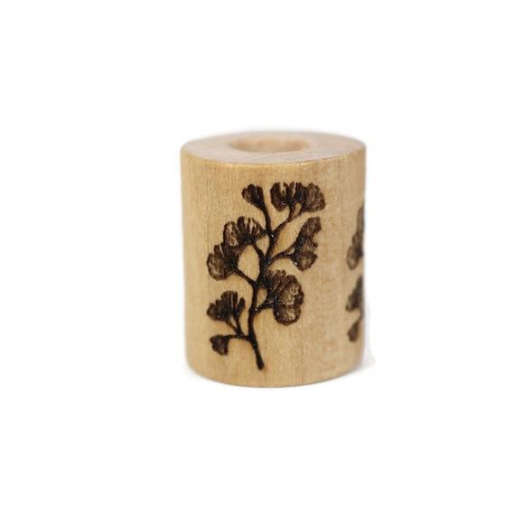 Gingko Biloba Wood Dread Bead // 6 - 8 mm Bead Hole // Dreadlock Bead, Loc Jewelry, Dreadlock Accessories, Dread Jewelry