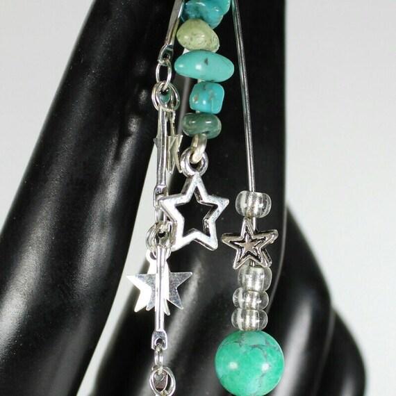 Turquoise & Silver Moon Dread Coil - ADJUSTABLE Bead Hole - Metal Dread Bead, Dreadlock Accessories, Dread Coil, Dread Charm, Dreadlock bead