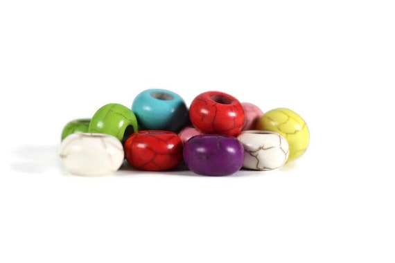 Howlite Dread Beads // 6mm Bead Hole - 2 pack // Rainbow Dread Bead, Rainbow Dreadlock Bead, Dread Jewelry, Braid Beads, Dread Accessories