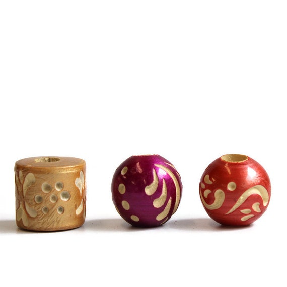 3 pack Wood, dread or beard beads - 7mm bead hole for Small size dreads - lacquered and carved - Gold, Orange and Pink - Wood Beads Pack #3