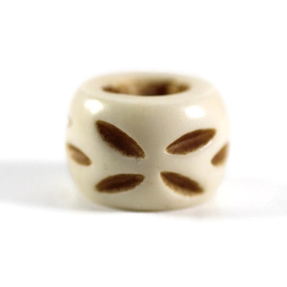 Carved Bone Dread Bead // 8 - 12mm Bead Holes // Dreadlock Beads, Dread Jewelry, Dread Accessories, Large Hole Beads, Hair Beads, 4D005