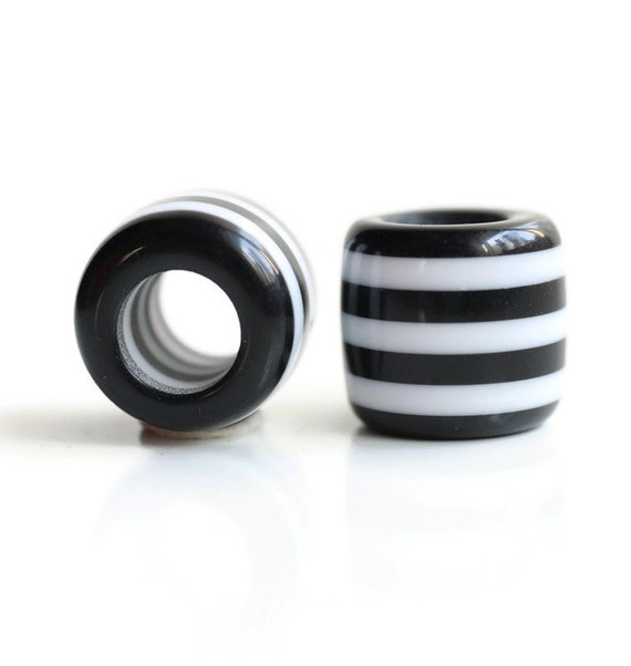 2 Black & White Acrylic Dread Beads - 6mm Bead Hole - Rainbow Dread Bead, Rainbow Dreadlock Bead, Dread Jewelry, Dread Accessories, 4E003