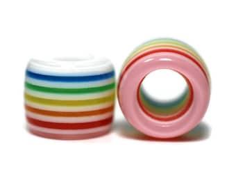 Pastel Rainbow Dread Beads // 6mm Bead Hole // Rainbow Dread Beads, Rainbow Dreadlock Bead, Dread Jewelry, Dread Accessories, 4C008