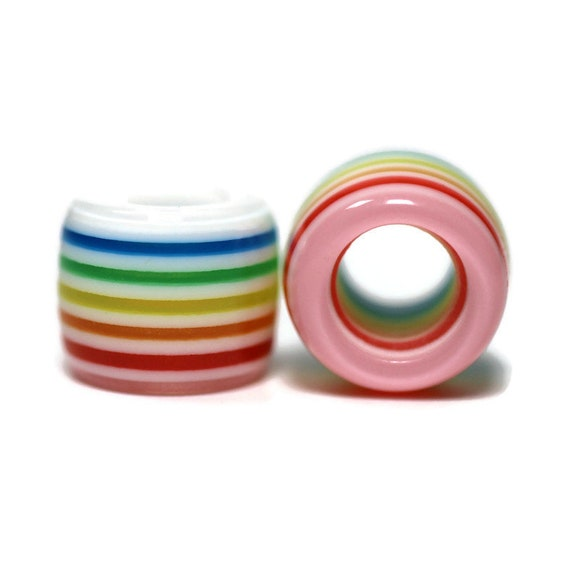 Pastel Rainbow Acrylic Dread Beads // 2 pack - 6mm Bead Hole // Rainbow Dread Bead, Rainbow Dreadlock Bead, Dread Jewelry, Dread Accessories