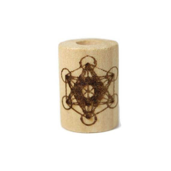 Metatron's Cube - Wood Dread Beads // 6 - 8 mm Bead Hole // Dreadlock Bead, Loc Jewelry, Dreadlock Accessories, Dread Jewelry