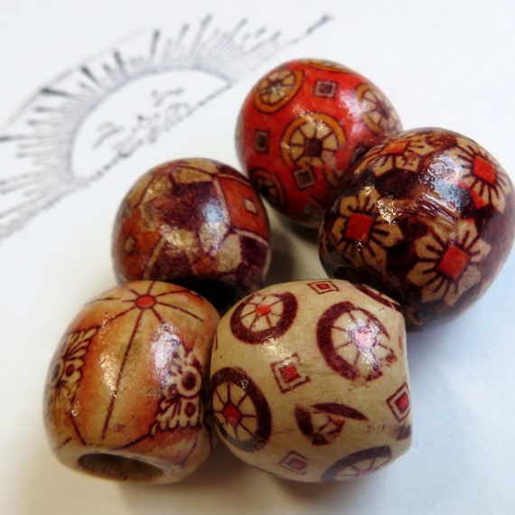 5 pack - wood dread beads - 7mm bead hole for Small size dreads