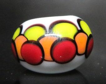 Warm Tone Dot Stack - 6mm bead hole -  Hand Blown Glass Dread Bead