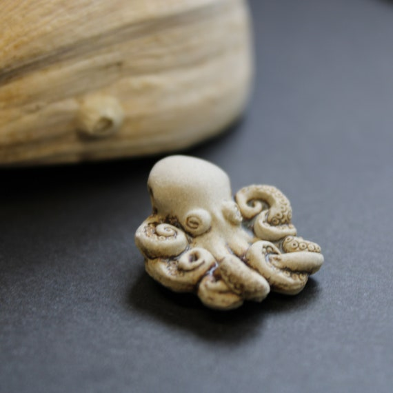 Ceramic Bead - Octupus -  Bead Only or Have it put on a Hemp Necklace -