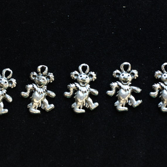 Jerry Bear, Silver - Grateful Dead Charms -  Assorted colors, Hemp Jewelry Supplies, Jewelry making