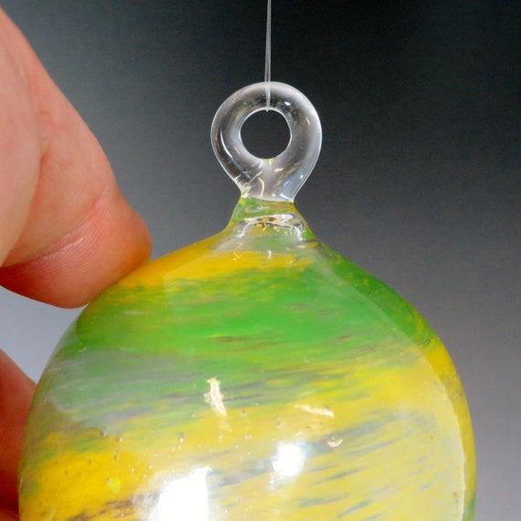 Glass Ball Frit Ornament - Green & yellow - Hand Blown Glass Christmas Ornament, Glass Christmas Tree Decorations, window sun catchers