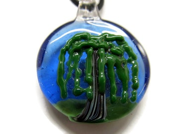 Tree of Life, willow tree, Hand blown glass pendant necklace, Nature Lover, Camping, Pacific Northwest, weeping willow