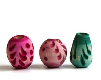 3 pack Wood, dread or beard beads - 7mm bead hole for Small size dreads - Stained and carved - pink and green - Wood Beads Pack #012, W35