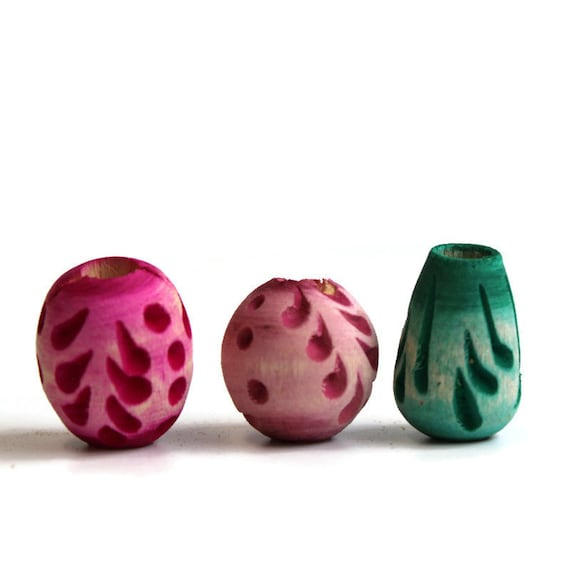 3 pack Wood, dread or beard beads - 7mm bead hole for Small size dreads - Stained and carved - pink and green - Wood Beads Pack #012