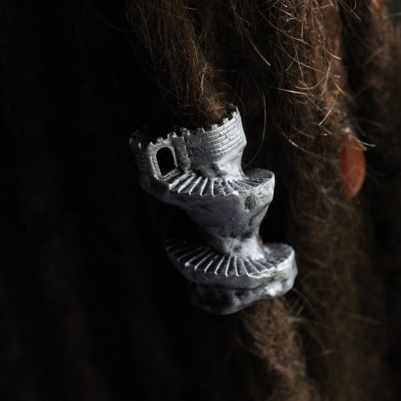 Rapunzel Tower Dreadlock Bead / CUSTOM Bead Hole Size / Dread Beads, Loc Jewelry, Beard Beads, Viking Beads, Dread Accessories, 4D030
