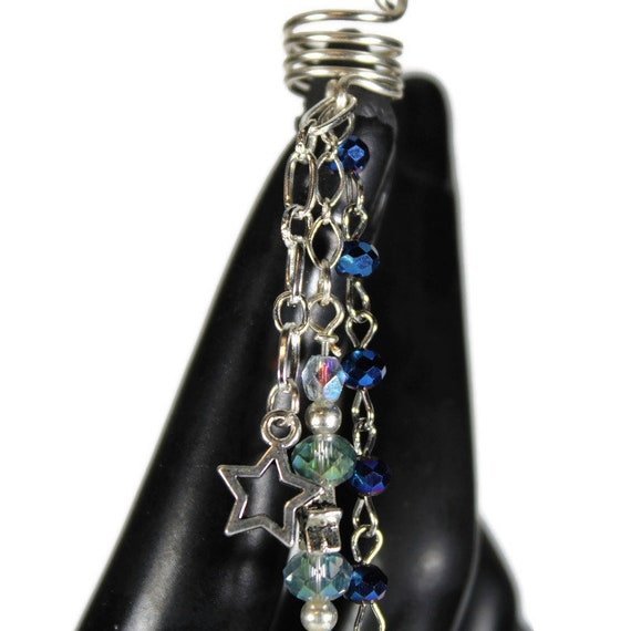Silver Moon Dread Coil - 7 or 9mm Bead Hole - Metal Dread Bead, Dreadlock Accessories, Dread Coil, Loc Beads, Dread Charm, Dreadlock bead
