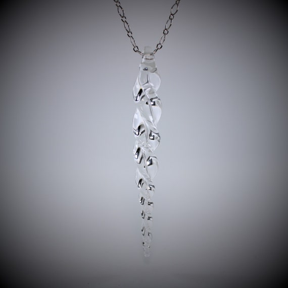 Crystal Clear Icicle Necklace - 20 inch Silver Platted Chain - Hand Blown Glass Icicle, Icicle Jewelry, Winter Jewelry, Winter Necklace