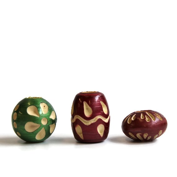 3 pack Wood, dread or beard beads - 7mm bead hole for Small size dreads - lacquered and carved - Burgundy and green - Wood Beads Pack #007