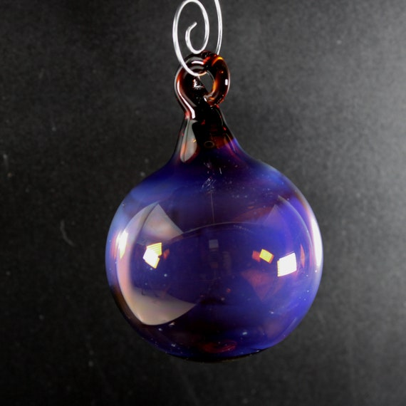 Glass Ball Ornament Silver Fume - Amber -  Victorian Style, Blown Glass Christmas Ornament, Glass Christmas Decorations, Blown Glass Float