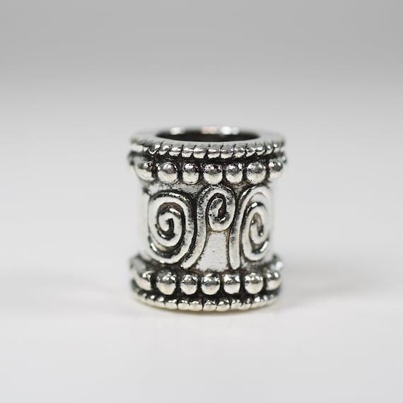 Silver Spiral Dreadlock Bead - 9 mm bead hole - Copper Dread Bead, Dreadlock Accessories, Loc Beads, Dread Jewelry, 4E008