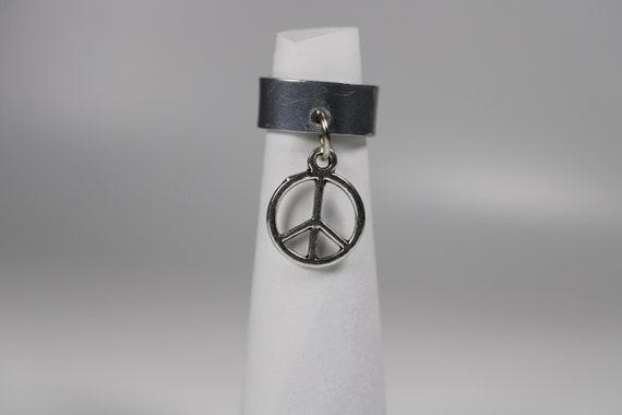 Peace Sign Charm Dread Cuff - 10 mm bead hole - Metal Dread Bead, Dreadlock Accessories, Hair Jewelry, Loc Beads, Dread Cuff, 4E007