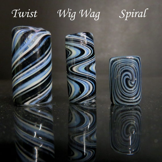Full color #14 - Black berry,  CUSTOM Three styles and 6 sizes to choose from, Spiral - Wig wag - Twist, Hand Blown Glass Dread Lock Bead