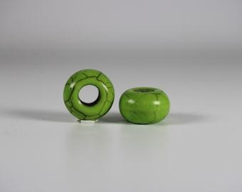 Green Howlite Dread Beads // 6mm Bead Hole - 2 pack // Rainbow Dread Bead, Rainbow Dreadlock Bead, Dread Jewelry,  Dread Accessories, 6A31