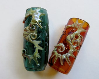 Seahorse - CUSTOM choose your background color and bead hole size - Hand Blown Glass Dread Bead, Beads for Dreadlocks, Large Hole Beads
