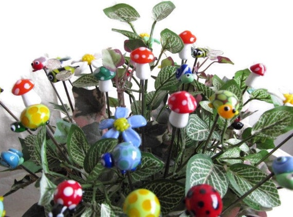 Assorted Pokers, Fairy Garden Decorations, Pipe cleaners, Plant Sticks, Stainless Steel and Glass, Fancy, Cartoon character