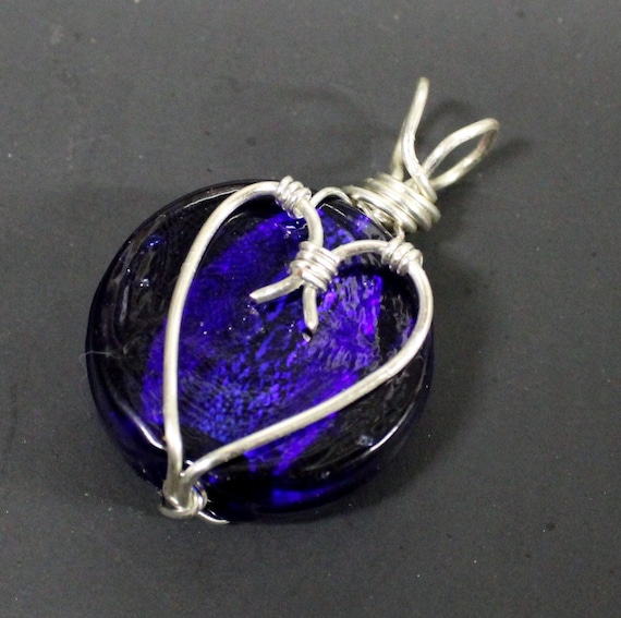 Silver heart glass coin with sterling silver plated copper wire wrap - Available with or without a Necklace - Hemp Jewelry pendants