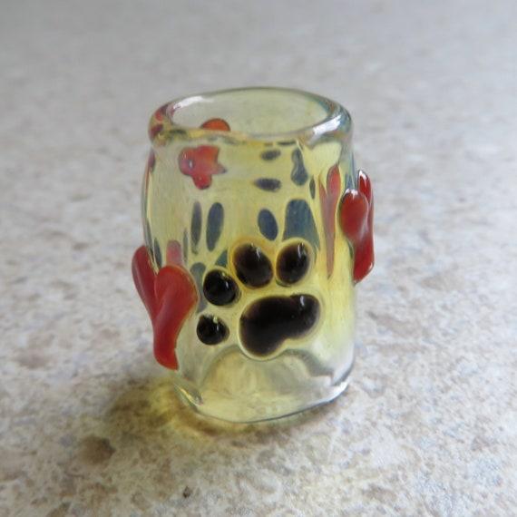 Paw Print with Hearts - CUSTOM choose your bead hole size - Glass Dread Beads, Large hole glass beads, Dreadlock Bead