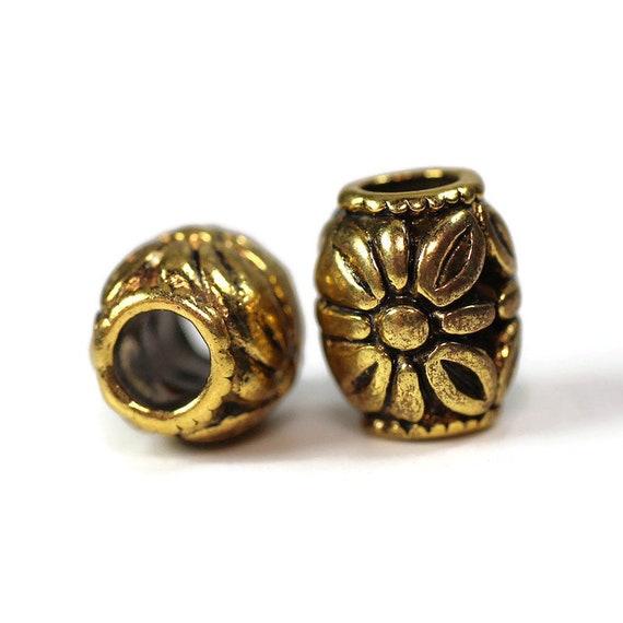 2 pack Daisy Dread Bead Gold - 5mm bead hole - Large Hole Beads for Jewelry, Hair, Braids, Dreadlocks, & Beards