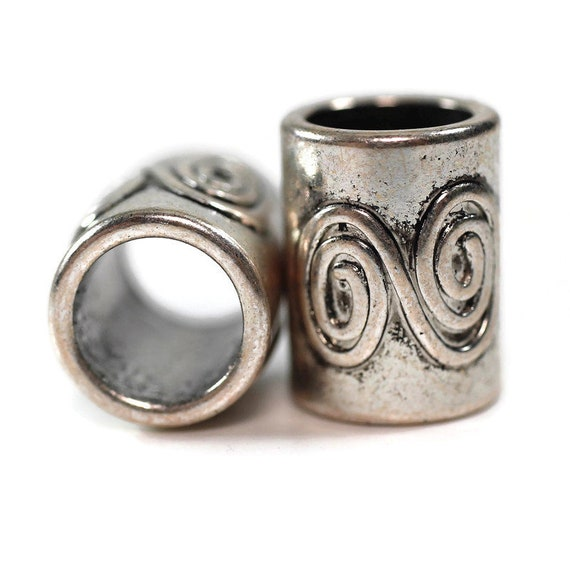 2 pack Metal double spiral Dread Beads Large hole Bead