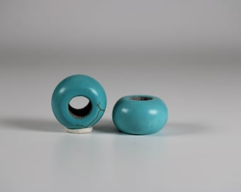 Blue Howlite Dread Beads // 6mm Bead Hole - 2 pack // Rainbow Dread Bead, Rainbow Dreadlock Bead, Dread Jewelry,  Dread Accessories, 6A27