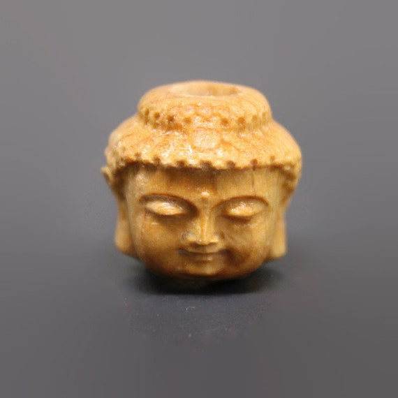 Buddha Head - Wood Dread Beads // 4 - 10 mm Bead Hole // Dreadlock Bead, Loc Jewelry, Dreadlock Accessories, Large Hole Beads, Dread Jewelry