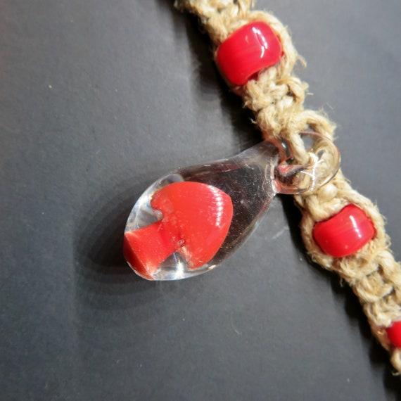 Mushroom Hemp Necklace - Red - Hippy Hemp Jewelry, Mushroom Pendant, HAnd blown glass mushroom pendant hemp necklace