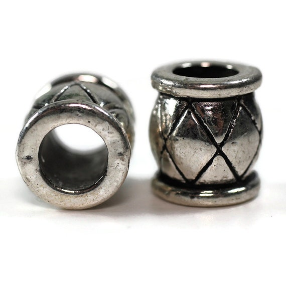 2 pack Metal barrel dread lock or beard beads 7mm bead hole, 4E001