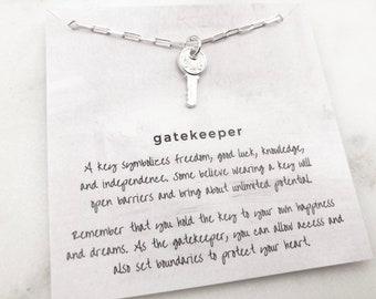 Gatekeeper Pendant  Gold Chain Necklace  Gold Snake Chain  Everyday Necklace  Simple Gold Necklace  Gifts Under 50
