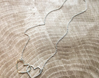 SALE! Double Hearts Mama Metal All-in-one Necklace // Ready to Ship
