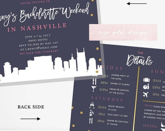 nashville bachelorette party invitation itinerary nashville etsy