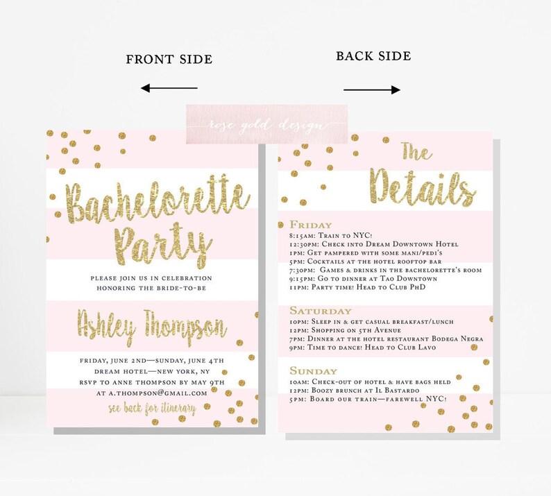 181cbe194739 Bachelorette Party Invitation Itinerary Printable Pink